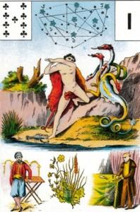 Grand Jeu de Mlle. Lenormand - Héracles e a Hidra; acima deles a constelação, símbolo da individuação dos heróis.