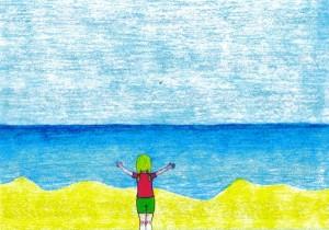 Isabela e o Mar - desenho de Maíra, a melhor parte de minha biogra-filha