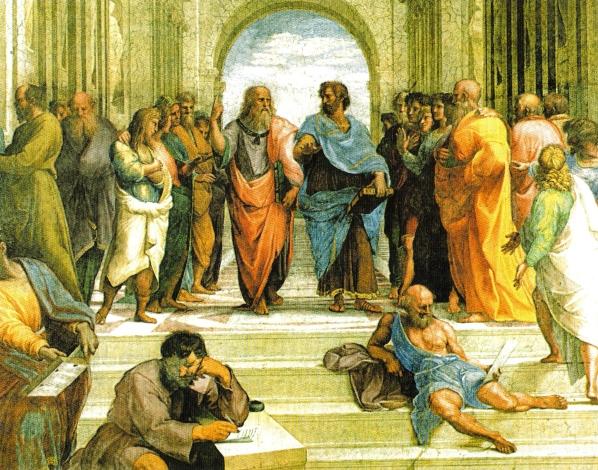 Academia de Atenas, de Rafael Sanzio (1483-1520), Palácio do Vaticano - Roma. Afresco pintado entre 1508-11. Em meio a homens e mulheres, alunos de diversas idades que dicutem astronomia, geometria, literatura, destacam-se ao centro a figuras de Platão e de seu principal pupilo, Aristóteles.