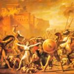 As Sabinas (aqui, determinando o fim da guerra), óleo sobre tela de J. L. David (1748-1825), Museu do Louvre, Paris