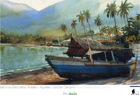 Barco em Barra Velha, aquarela de Gonzalo Cárcamo
