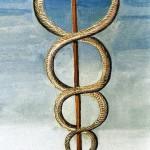 Caduceu de Hermes, enrodilhado pelas serpente da morte e do renascimento das almas