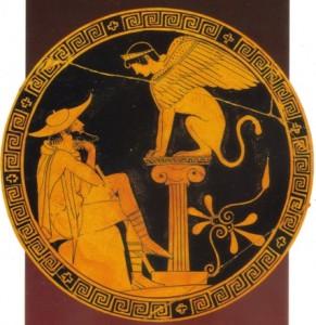 Édipo decifra o enigma da esfinge de Tebas