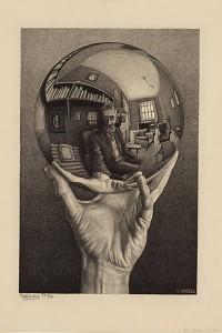 Autorretrato no espelho esférico, litografia, 1950