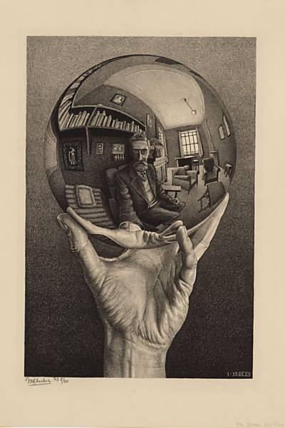 Escher, M. C. - Autorretrato no espelho esférico, litografia, 1950