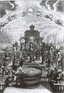 Estudo dos Astros através do Espelo d'água - iluminura de Erasmus Franciscus, Nuremberg, 1676