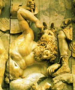 Gigante sendo morto por Ártemis e seus cães; mármore, altar de Zeus de Pérgamo - c.180 a.C.