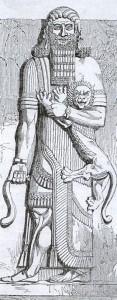 Gilgamesh, rei de Uruk, baixo relevo assírio em alabastro