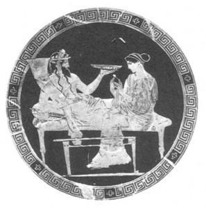 Hades, Perséfone e o sumo da romã, baixo relevo, sec.V a.C.