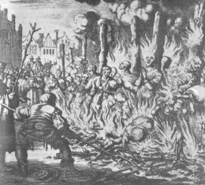 "Dezoito Hereges Queimados em Salzburg, ""água-forte"" de Jan Luyken"