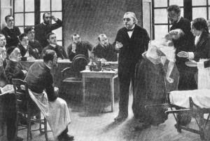 Aula de J. M. Charcot na famosa Salpêtriére, em Paris