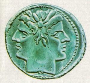 Jano Bifronte em moeda romana, séc. II a.C.