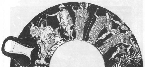 Julgamento de Páris, detalhe de taça com figuras vermelhas de Herron