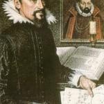 Johannes Kepler, tela de Jean-Leon Huens (O astrônomo Tycho Brae aparece no quadro, ao fundo)