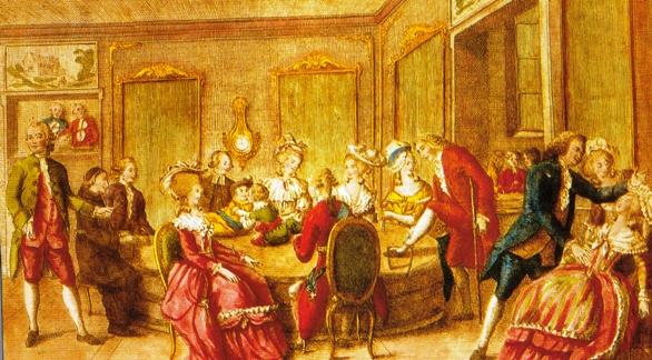 """Sessão mesmérica ao redor do """"baquet"""". À direita, Mesmer atende uma paciente que desmaia. O salão era forrado de espelhos para intensificar o magnetismo."""