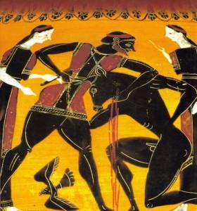 Teseu matando o Minotauro, ânfora-sec.VI-a.C