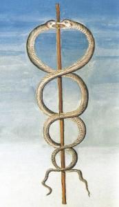 O Caduceu com duas serpentes de Deus Hermes