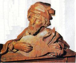 Pitágoras; escultura em madeira, anônimo.