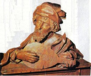 Pitágoras musicista, peça em madeira do mosteiro de Ulm, Alemanha