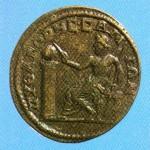 Moeda de bronze samiana, com a efígie do mestre e os dizeres: Pitágoras de Samos. (séc. III d.C.)