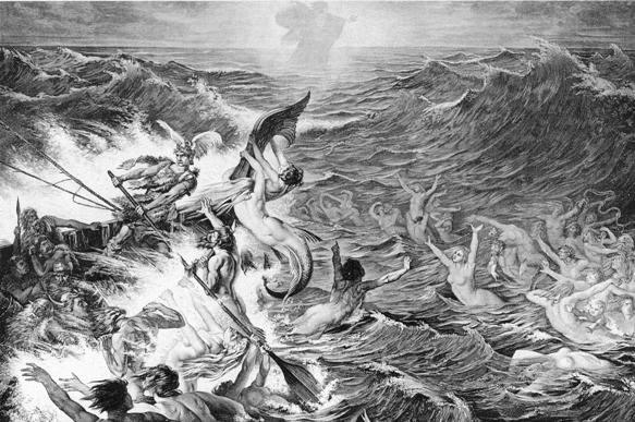 Sereias atacam embarcação nórdica em mar revolto.