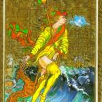 """Ariel, a soprar tempestades, aparece aqui como """"Il Mato"""" do Tarô, ou o Arcano sem número."""