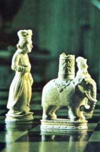 Peças de marfim de xadrez indiano que pertenceu a D. Pedro I